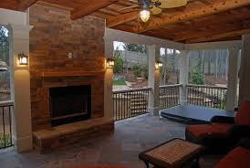 shed open air porch with fireplace