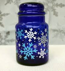 cobalt blue snowflake decorated kitchen canister