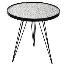 side table round black white circle print top 50cm