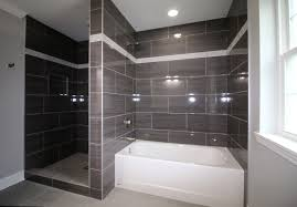 view larger image gray tile shower and tub surround