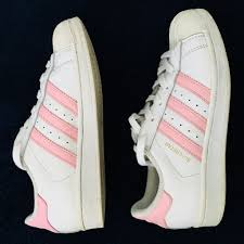White And Light Pink Superstars Adidas Shoes Light Pink Adidas Superstars Sneakers Color