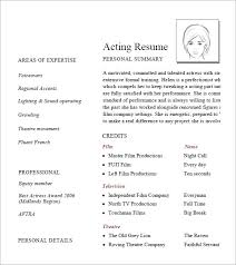 7 Acting Resume Samples Examples Templates Sample Templates