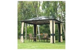outdoor patio canopy party gazebo with mesh and curtains black