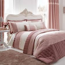 catherine lansfield gatsby sequin embroidered faux silk duvet cover set pink super king linens limited