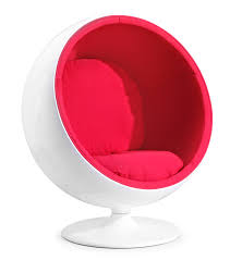 Modern Chairs For Bedroom Chic Red Fabric Seat With White Egg Chairs Pattern With Pedestal