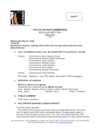 POLICE REVIEW COMMISSION REGULAR MEETING