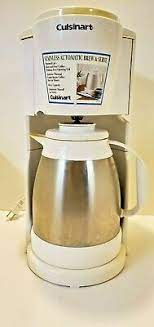 Cuisinart coffee brewer with thermal carafe. Vintage Cuisinart Coffee Maker Machine 8 Cup Stainless Steel Carafe White Ebay