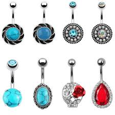<b>New 1PC Steel Belly</b> Button Ring Crystal And Stone Piercing Navel ...