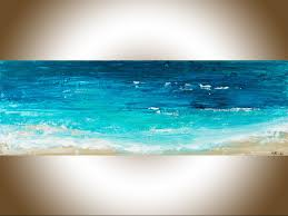 reach the s ii by qiqigallery 36 x 12 original abstract seascape painting blue color art original artwork painting on canvas wall art wall decor