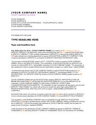 Business Press Release Template Press Release Company Has Completed An Acquisition Template