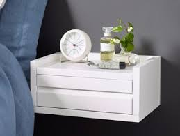 Charming Rectangular Wall Mounted MDF Bedside Table With Drawers 1KM DISPLAY   Bedside  Table With Drawers