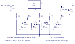 few lm voltage regulator circuits that has a lot of applications adjustable regulator digitally selectable output