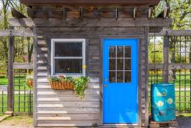 detached home office. Chic Shed With Bright Blue Door Detached Home Office O
