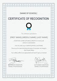 Certificate Recognition School Certificate Of Recognition Template