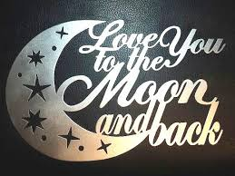 i love you to the moon and back metal wall art