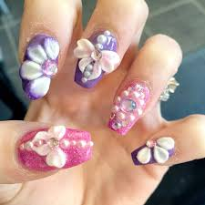 pink-and-purple-nails-3d-nail-art-bows-3d-2-tone-flowers-and ...