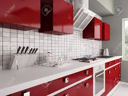 Red Kitchen Furniture Modern Red Kitchen With Sinkgas Stove Interior 3d Stock Photo