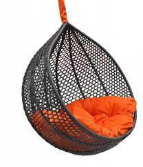 comfortable chairs for bedroom. Cozy Black Knited Rattan Hanging Chair For Bedroom With Orange Cushion Seater Made Of Fabric Comfortable Chairs R