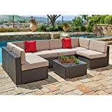plastic outdoor furniture cover. SUNCROWN Outdoor Patio Furniture Set (7-Piece Set) Brown Wicker Sofa  Plastic Outdoor Furniture Cover