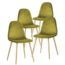 midcentury modern dining chairs. greenforest dining chairs velvet back and cushion with metal legs, elegant mid century modern side eames-style set of 4 (lime green) midcentury