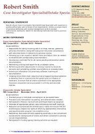 Intake Specialist Resume Samples Qwikresume