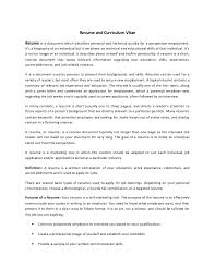 Curriculum Vitae Resume Resume And Curriculum Vitae