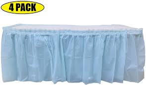 Light Blue Table Skirt 4 Pack Light Blue Table Skirt Carnival Circus Birthday Office Party Decorations Baby Shower Gender Reveal