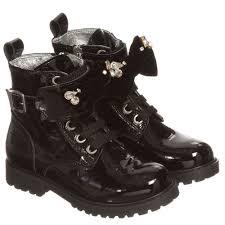 monnalisa girls black patent leather ankle boots childrensalon