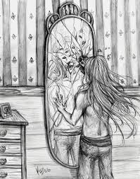 looking in mirror different reflection drawing. amazing drawings of broken mirrors mirror drawing looking in different reflection c