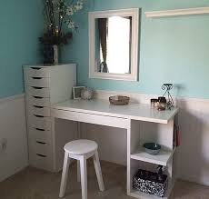 ikea micke desk with integrated storage as vanity desk with alex drawers
