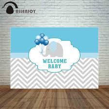 <b>Allenjoy backdrop</b> photocall gray chevron welcome baby <b>elephant</b> ...