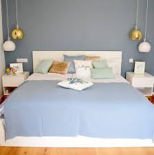 Schlafzimmer Gestaltung Interior Blau Weiß Beiger Schlaftraum