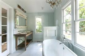 farmhouse style bathroom ideas with chandelier over tub rustic