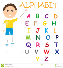 Alphabet Chart Kids Study Colorful White Stock Vector