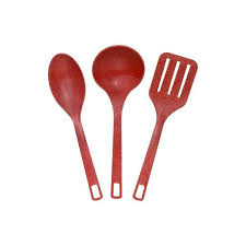 undefined evo sustainable goods red eco friendly wood plastic composite serving utensil set