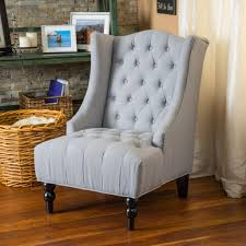 clarice tall wingback silver tufted fabric accent chair  great