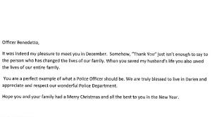 Letter Darien Woman Thanks Police Officer For Saving Her Husband S