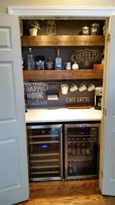 squeeze a home bar into the unused closet space