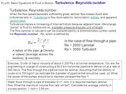 basic equations of fluid in motion turbulence reynolds number