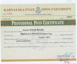 Sample Degree Certificates Of Universities Sample Degree Certificate Of Karnataka State Open University