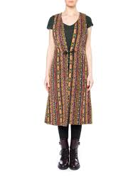Long Frog Design Boho Ethnic Multicolor Long Vest With Frog Closure New