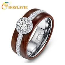 bonlavie high polish real koa wood ring with silver inlaid
