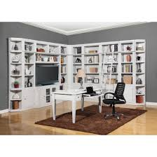 parker house boca 12pc corner library bookcase wall unit with desk in cottage white finish