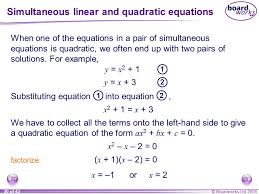 simultaneous linear and quadratic equations