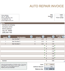 repair invoice template auto parts invoice template auto repair invoice template free