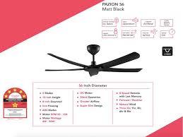 alpha pazion 56 matt black remote control fan malaysia