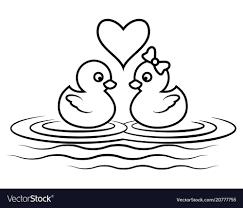 duck cartoon outline vector image