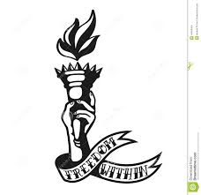 hand holding mirror drawing. Freedom Within: Cool Tattoo Design Of Hand Holding Liberty Torch Mirror Drawing H