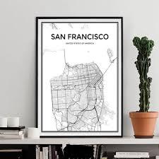 Main image of san francisco city limit wall plaque art, 12.5 x 18.5 san francisco city limit wall plaque art, 12.5 x 18.5 reg. San Francisco City Map Canvas Paintings Minimalist Black White Poster Nordicwallart Com