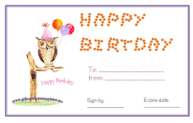 Owl Birthday Gift Certificate Template Pinned By Www